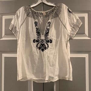 J crew white blouse with black embroidery